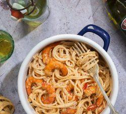 Rýchly recept na cestoviny, krémové špagety s kreveami, rýchly recept, rýchla večera